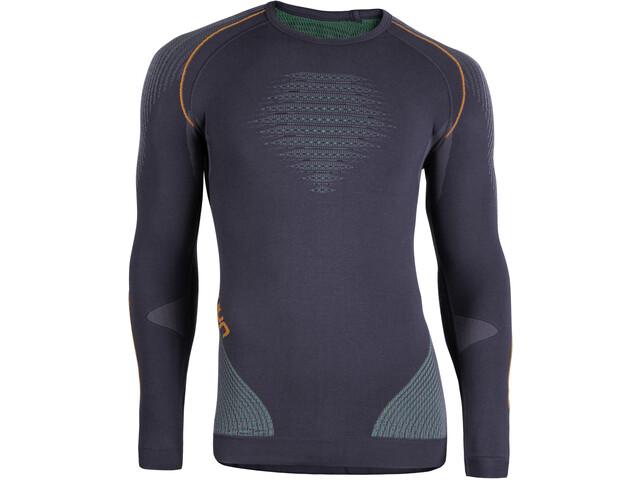 UYN Evolutyon UW LS Shirt Herr charcoal/green/orange shiny